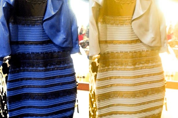 Is the dress blue or gold?