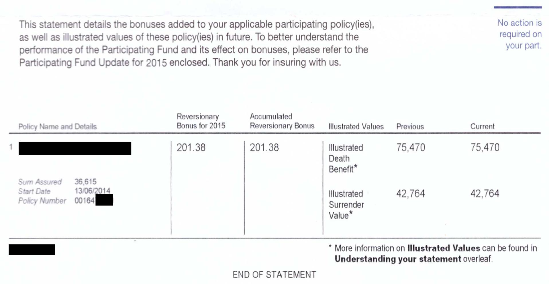 Bonus Statement 2016 Declaration