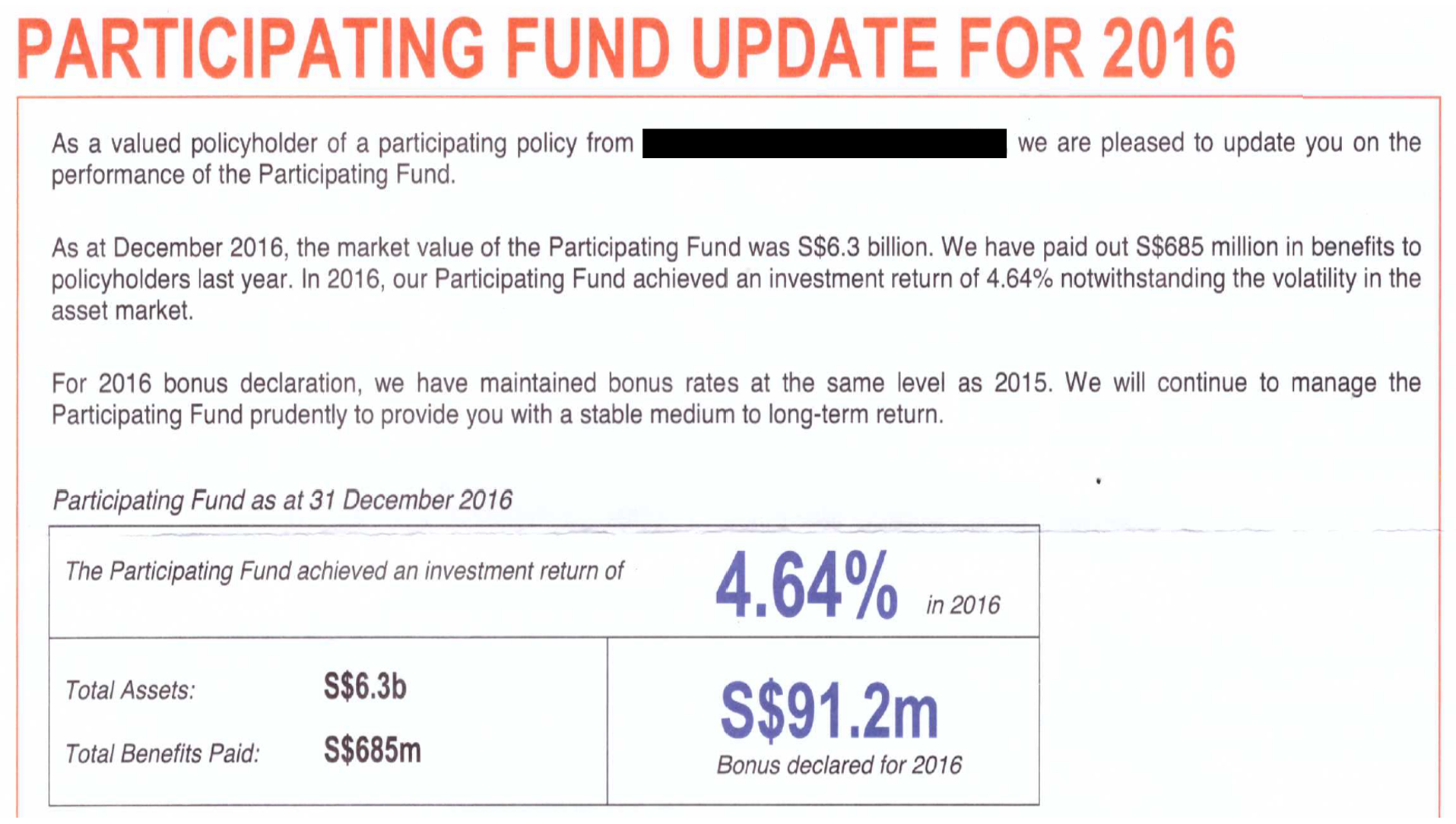 Participating Fund Update for 2016